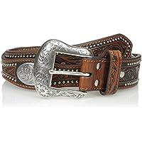 Nocona Belt Co. mens Silver Oval Scalop Belt - brown