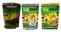 Barnana Organic オーガニック Chewy Banana Bites 3 Flavor Variety Bundle, (1) each: Peanut Butter, Coconut, and Chocolate (3.5 Ounces)