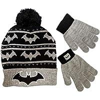 DC Comics Batman Beanie Winter Hat and Gloves Cold Weather Set, Age 5-13