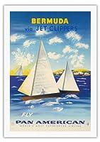 ジェットクリッパーズを経由バミューダ - パンアメリカン航空フライ - サマーズ諸島ヨット - ビンテージな航空会社のポスター c.1950s - 美しいポスターアート