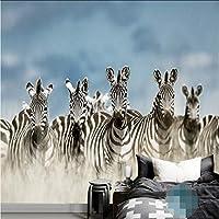 Mingld 新しいカスタム動物ゼブラ写真現代の壁紙キャンバス壁壁画背景壁カバーリビングルーム家の装飾-120X100Cm