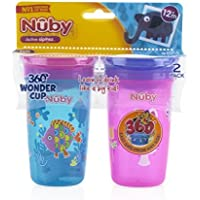 Nuby 2pk No Spill 360 Degree Printed Wonder Cup?- Colors May Vary [並行輸入品]