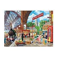 楽しい旧鉄道駅、子供時代の思い出500-2000ピースジグソーパズルすべての部分は、大人子供環境保護のギフトのために一緒に完全に木製のユニークなフィットですパズル Puzzle0HW (Size : 1000pcs)