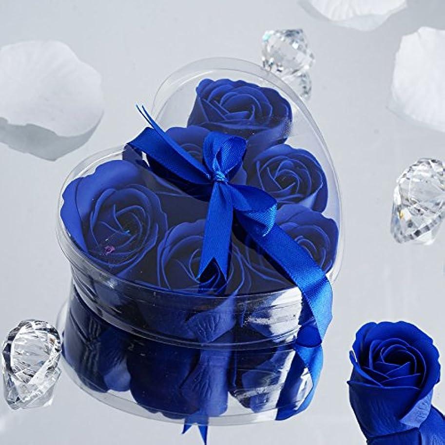 フロント複合社交的BalsaCircle 100ギフトボックス6付きローズソープ – 結婚式の贈り物 ブルー FAV_SOAP_ROY@100