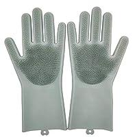 シリコン手袋 キッチングローブ ゴム たわし手袋 ビニール2枚セット M(グレーブルー)