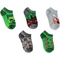 Boys' Minecraft No Show Socks, 5 Pairs