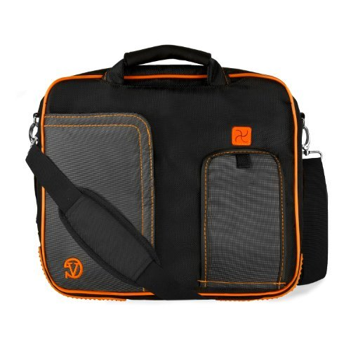 PINDAR Nylon Messenger Shoulder Carrying Bag (Orange-Trim) For ACER A200 A211 A210 A500 A501 A510 A700 ICONIA W500 Tablet [並行輸入品]