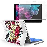 Surface pro6 pro2017 pro4 専用スキンシール ガラスフィルム セット 液晶保護 フィルム ステッカー アクセサリー 保護 ユニーク クリスマス サンタ 002703