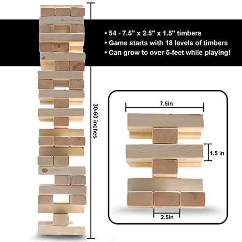 Tumbling Timbers by Legit Sports ? The Big Life Size Stacking Blocks Game Everyone Loves? Jumbo Jenga Type Set Includes Large Stacking Wood Blocks ? Better Than Giant Jenga ? For Indoor Outdoor Yar