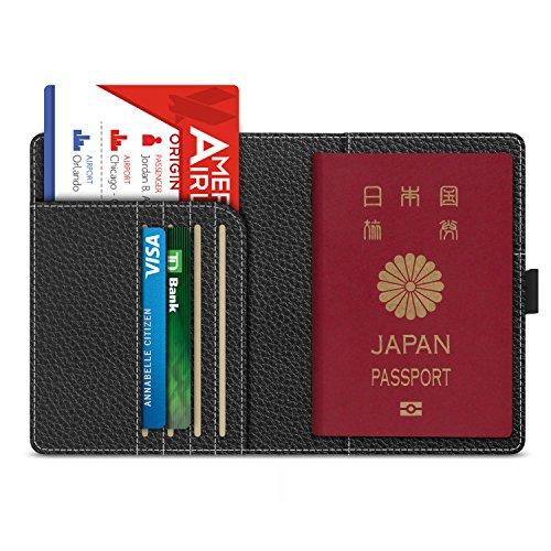 パスポートケース - ATiC 5.5インチパスポート用カバー 高級PUレザー製 多機能収納ポケット付き 海外旅行用 - BLACK
