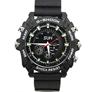 Flylinktech 腕時計カメラ  防犯カメラ 1080P PCカメラ 暗視機能 防水 動体検知8GB内蔵 単独録音 小型 ブラック