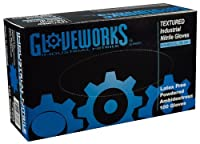 AMMEX - IN46100-BX- Nitrile Gloves - Gloveworks - Disposable Powdered Industrial 5 mil Large Blue (Box of 100) [並行輸入品]