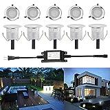 埋め込み式ライト FVTLED スポットライト 地中埋込型ライト 12V 0.6W IP67防水 LED 照明 省電力 ガーデン 庭 屋外用 CE RoHS認証 10個セット 3年保証付き (クールホワイト)