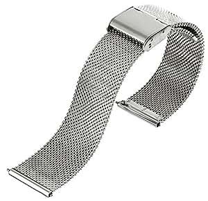 [EMPIRE] ミラネーゼ メッシュ ブレスレット 時計ベルト ワンタッチ 簡単装着 スライド式 バネ棒加工付き (シルバー,18mm)