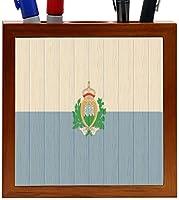 Rikki Knight San Marino Flag on Distressed Wood Design 5-Inch Wooden Tile Pen Holder (RK-PH8781) [並行輸入品]