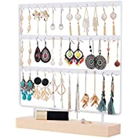 QILICHZ Earring Stand 3-Tier Earring Holder Ear Stud Holder Decorative Jewelry Holder Display Rack Jewelry Stand Display with Wooden Tray/Dish for Earrings Necklace Bracelet Rings