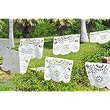 プラスチック「ホワイトセレモニー」メキシカンパペルピカドバナー。美しいピュアホワイト。 大きなサイズのパネル。 美しい花のデザイン。