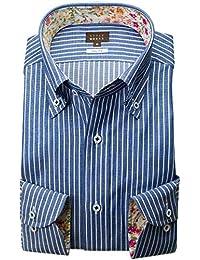 RSD170-006 (スタイルワークス) メンズ長袖ワイシャツ ワイドカラー ストライプ | 青