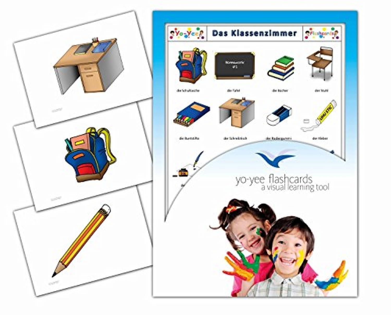Classroom and Stationary Flashcards in German - Bildkarten Klassenzimmer