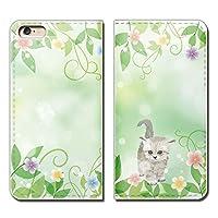 (ティアラ) Tiara iPhone8 (4.7) iPhone8 スマホケース 手帳型 ベルトなし ねこ 猫 ネコ 黒 かわいい 花 新緑 手帳ケース カバー バンドなし マグネット式 バンドレス EB284020098102
