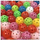 ゴルフ 練習 用 穴あき 軽量 プラクティス ボール ピーボール ホローボール 50個 セット 選べる カラー 室内 屋内 室外 お庭 で (ランダム)