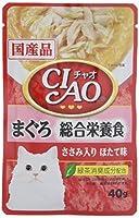 チャオ (CIAO) キャットフード パウチ 総合栄養食 まぐろ ささみ入り ほたて味 40g×16個 (まとめ買い)