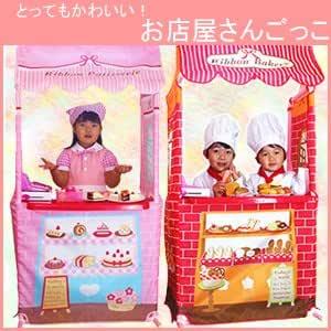 おままごと遊び お店屋さんごっこ パン屋さん ケーキ屋さん 木製調理器具・テーブル付き リボンマルシェ テント パン屋さん