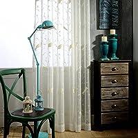 Pureaqu 刺繍レースカーテン かわいい鳥のデザイン 窓パネル UVカット おしゃれ 薄い 明るく 間仕切り 綿素材 良い換気 良質 キッズルーム キッズルーム 1組2枚入り 幅150cm×丈178cm