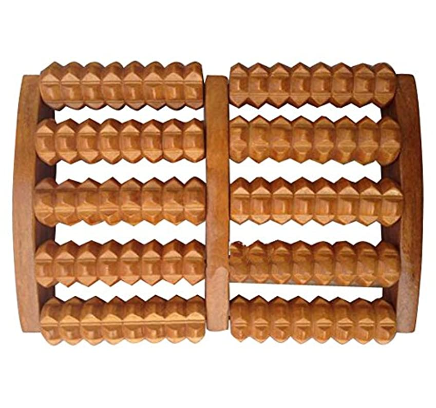 テザーコンパクトかび臭いウッドフットレストフットマッサージラビングローラーローラーウッドマッサージ-5ロー/レッド