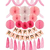 Pink and Gold Birthday Party- SET 24 PC Pink Party Decors and Supplies Set includes Happy Birthday Banner Paper Tassels Pink and Gold Letters Birthday Bunting Stylish Decorations and Party [並行輸入品]