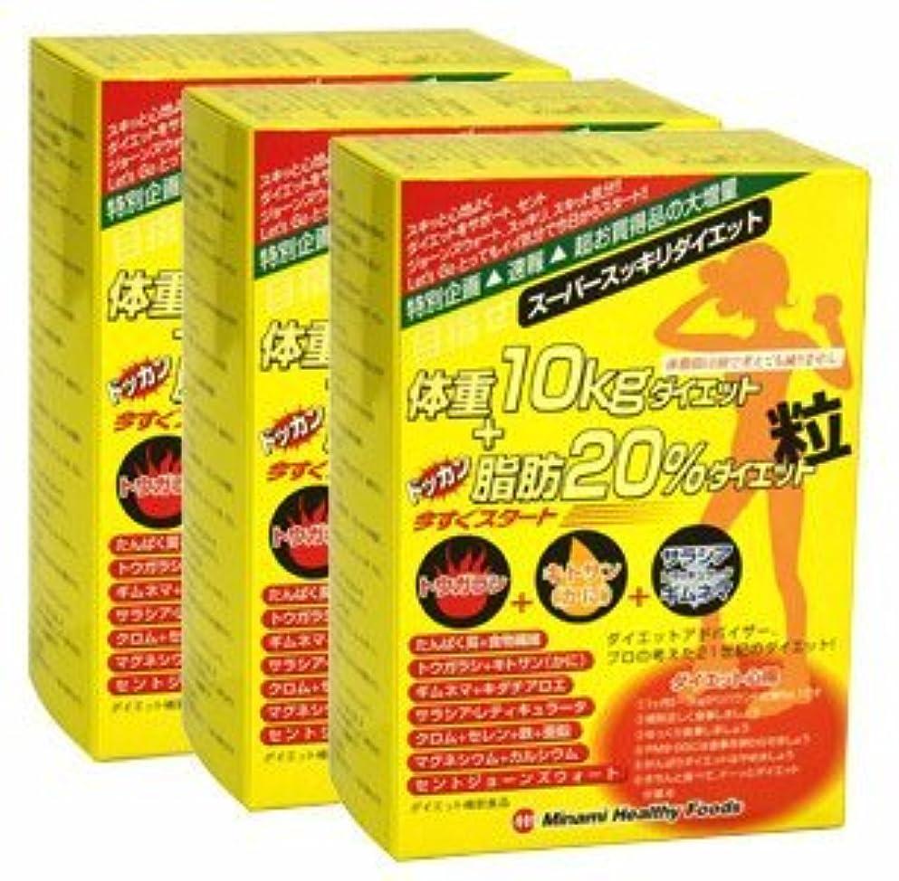 お別れそう静かな目指せ体重10kg+ドッカン脂肪20%ダイエット粒【3箱セット】ミナミヘルシーフーズ