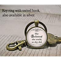 She believed she could, so she did keychain, inspiration jewelry inspirational keychain, empowerment jewelry, quote keychain