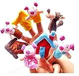ShanTrip 指人形 童話 シリーズ 3匹のこぶた オオカミ 絵本 劇 パペット 保育園 子供 (3匹のこぶた)