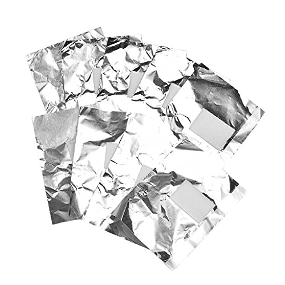 Perfk 約100枚 ジェル除却 ネイルアート 錫箔紙 のり除却可能 ネイルオイル クリーナーツール 爪装飾除き 包み紙