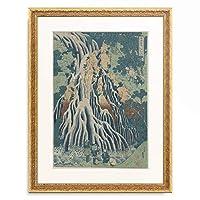 葛飾北斎 Katsushika Hokusai 「諸国瀧廻り 下野黒髪山 きりふりの滝」 額装アート作品