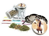 Smoking Girl–2.5インチ亜鉛合金グラインダー& 75mlロックトップガラスJarギフトセット# zcc-111616–345