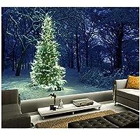 3D壁画、クリスマスツリーフェアリーライト自然、ホテルのレストランのリビングルームのソファテレビの壁のベッドルームの壁紙300cm(W)x 200cm(H)(9'8 '' x 6'5 '')ft