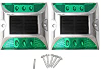 Kasamy 6 LED 道路 鋲 路肩 標 誘導 灯 ソーラー 充電 式 セット ( 緑 点滅 2個 + 固定用 ビス 5本 )