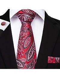 DiBanGu ネクタイ ペイズリー ハンカチ メンズ セット ネクタイ フォーマル シルク カフスボタン セット