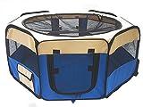 MIRACLE 折りたたみ 防水ペットケージ 八角形 ペットサークル 大型ケージ フェンス ( ブルー XLサイズ ) MC-PETPLAY0023-XL-BL