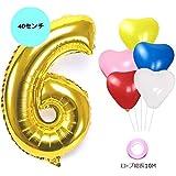 【Shiseikokusai 】誕生日パーティー 飾り付け アルミニウム 数字(6)バルーン ゴールド ハート型風船x5個 リボン×1個(jwc-x06)