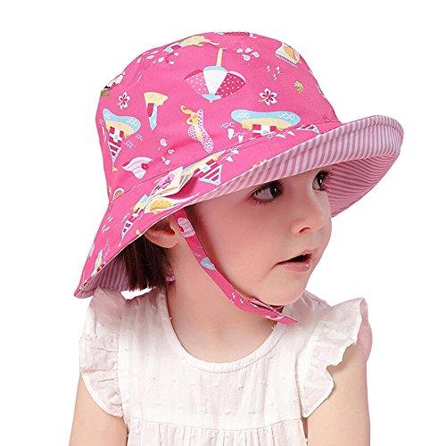 Arcweg 赤ちゃん帽子 新生児 UPF50+ ベビーハット 日よけ帽子 キッズ 男の子 サファリハット uvカット 子供帽子 女の子 夏 つば広 アウトドア 2way 紫外線対策 ピンク 50CM