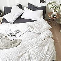YUNJIE 洗浄綿布団カバー セット,長繊維綿羊木綿 快適,通気性とソフト素材 すべての季節の中の暖かさ シンプルなスタイル-AE 200x230cm(79x91inch)