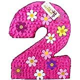 APINATA4U 大きなホットピンク数字 2つのピニャータ 花のアクセント付き