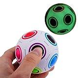 夜光可能 レインボー ボール スピードキューブ 立体パズル おもちゃ  子供用/大人用 (レインボー ボール, レインボー)
