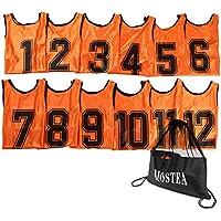 MOSTEA ゼッケン ビブス ジュニアサイズ 12枚 セット [MOSTEAオリジナル収納バッグ付き]