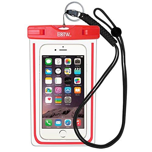 iPhone6/Samsung 防水ケース EOTW® 防水携帯ケース アウトドア潜水 温泉 釣り お風呂 水泳 砂浜等最適な防水袋 スマホケース・カバー 救助用ネックストラップ付属 防水国際保護等級:IPX8認定獲得 iPhone 6 Plus/ Samsung Galaxy/Nexus/Sonyなど全機種対応 スマートフォン用防水・防塵ケース (レッド)