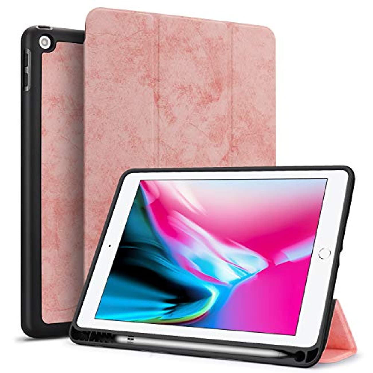 嵐の松明頼るTasikar iPad 9.7 ケース (2018/2017モデル) Apple Pencil 収納可能 TPU 耐衝撃 傷つけ防止 軽量 薄型 保護カバー 三つ折スタンド オートスリープ機能付き PU レザー スマートカバー 2017年と2018年発売の9.7インチ iPad 対応(モデル番号A1822、A1823、A1893、A1954) (ピンク)