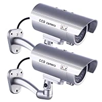 Fake Security Camera, Dummy Cameras CCTV Surveillance System with Realistic Simulated LEDs for Home Security + Warning Sticker Outdoor/Indoor Use, Pack of 2 by IDAODAN [並行輸入品]