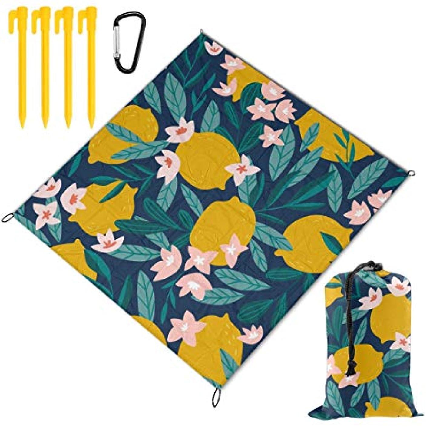対話確認してください悪魔レモン 花柄 総柄 折り畳めるピクニックマット 防水防湿パッド 公園マット キャンプマット 超軽くて便利な携帯用防水ピクニックマット 145x150cm